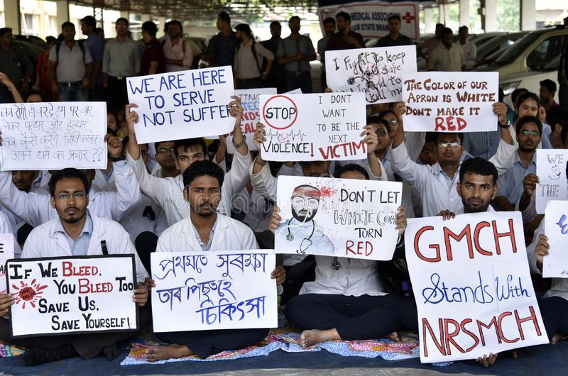 Doctors Nationwide Strike in India. Doctors Nationwide Strike. Guwahati, Assam, India. June 17, 2019. Indian students and doctors of Guwahati Medical College royalty free stock photo