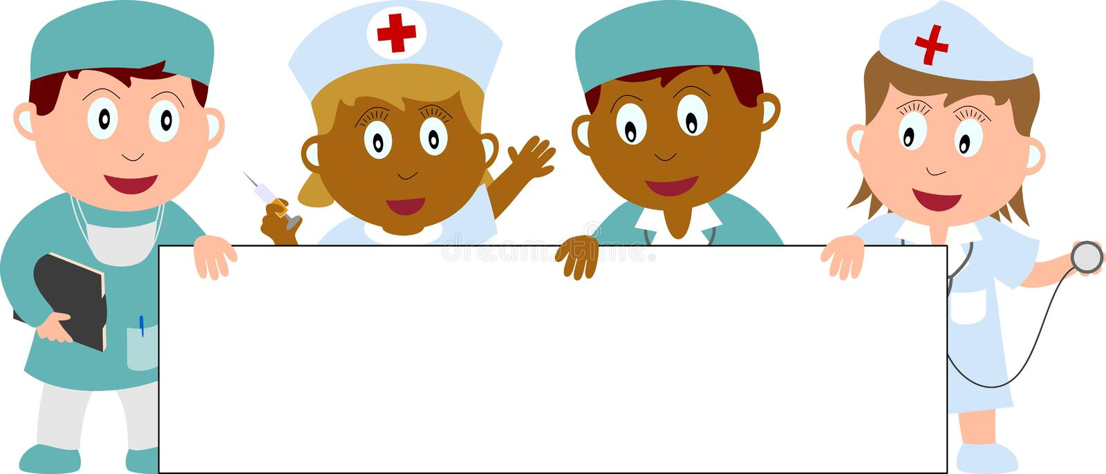 Doctors, Nurses and Banner vector illustration