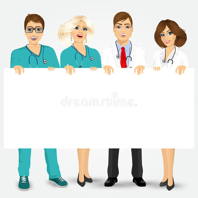 Doctors and nurses holding a blank billboard. Concept for medical workers. Group of doctors and nurses holding a blank billboard vector illustration