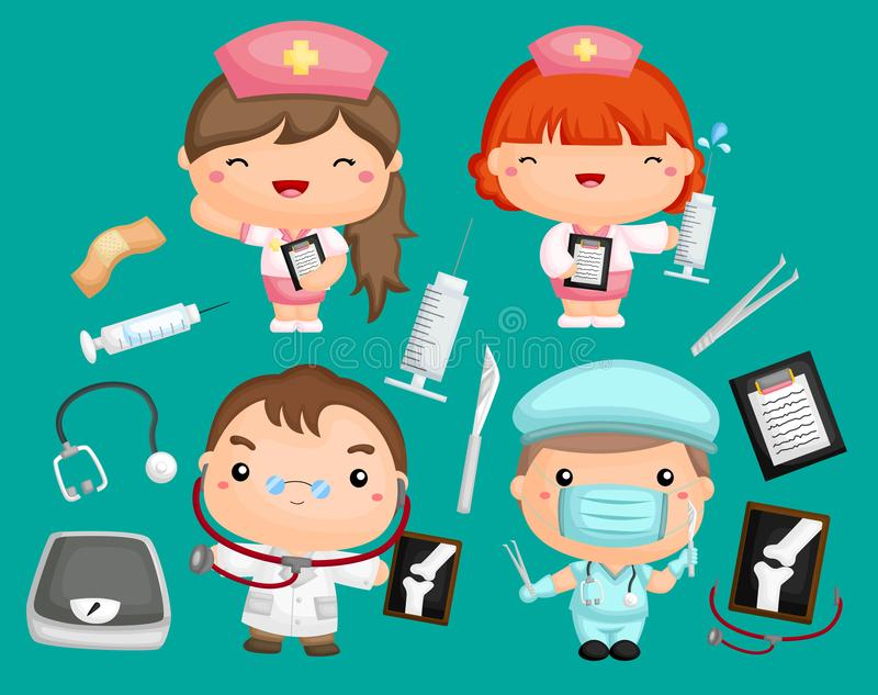Doctors and Nurses. An image set of doctors and nurses with medical equipment vector illustration