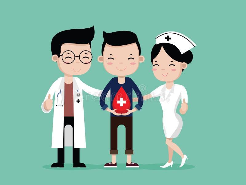 Doctors, nurses and man Happy to Blood Donation. Doctors and nurses and Young man Happy to Blood Donation, vector cartoon stock illustration