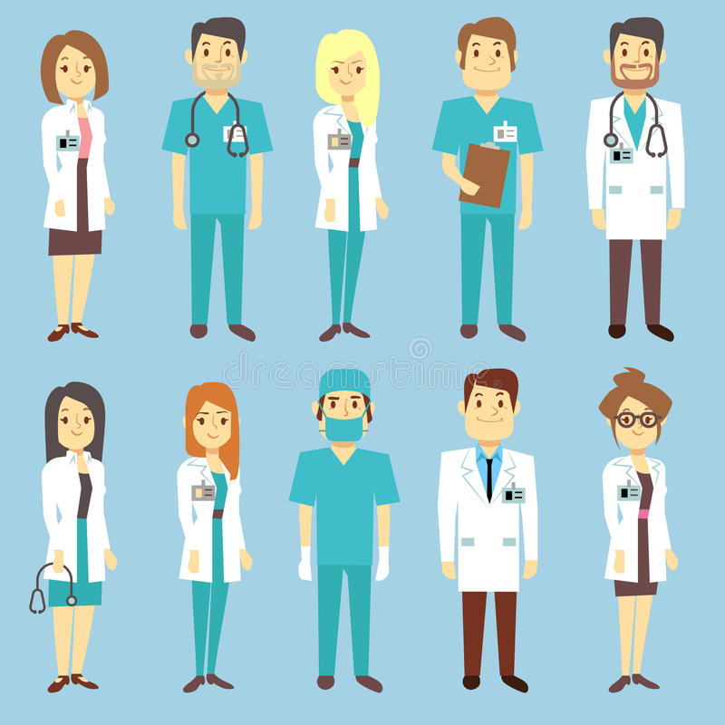 Doctors nurses medical staff people vector characters in flat style. Practitioner and surgeon in uniform, occupation professional physician illustration vector illustration
