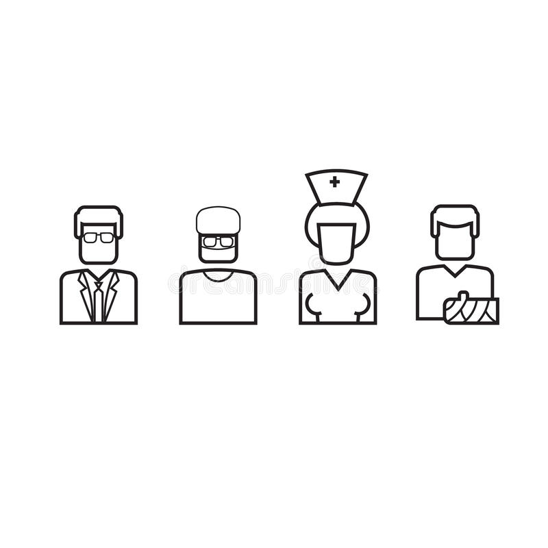 Doctors nurses and patients line icons vector illustration