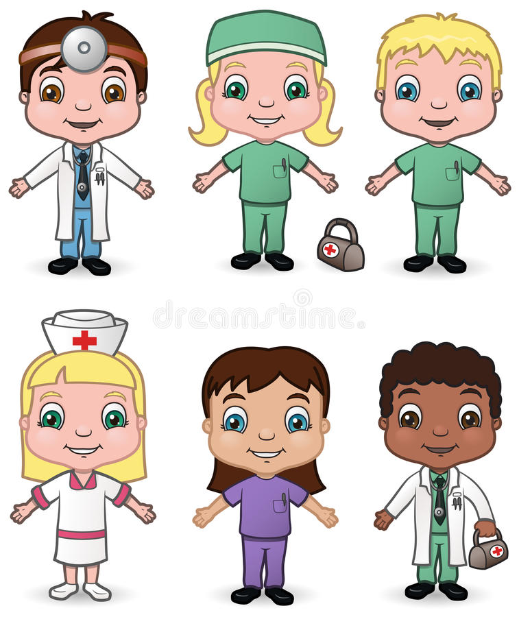 Doctors and Nurses set 3 stock illustration