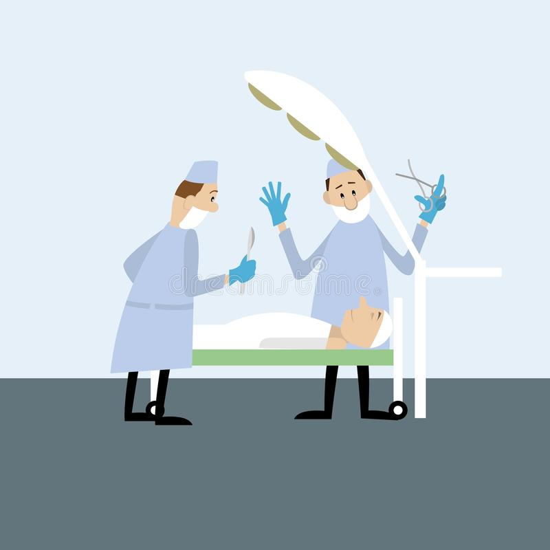 The doctors in the operating room. Doing surgery to the patient. vector illustration.cartoon stock illustration