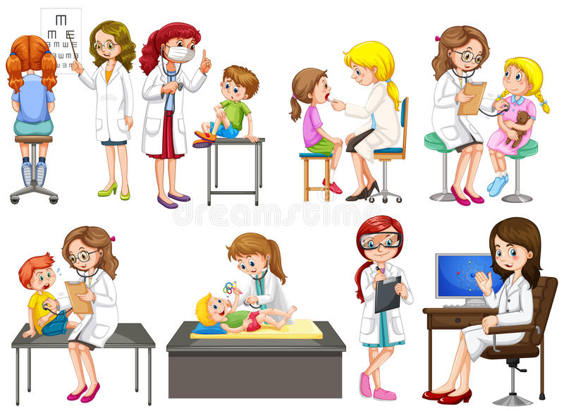 Doctors and patient at clinic. Illustration royalty free illustration