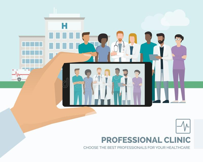 Doctors posing at the hospital royalty free illustration