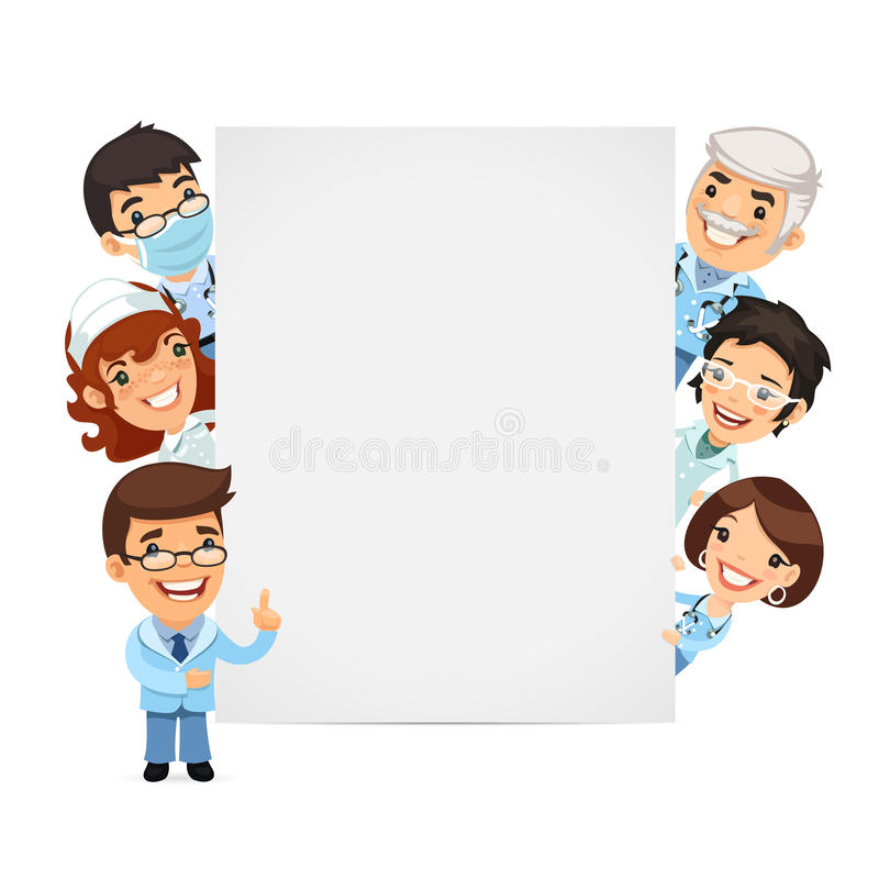 Doctors Presenting Empty Vertical Banner Stock Vector