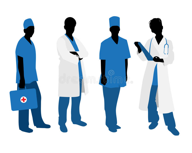 Doctors silhouettes on white vector illustration
