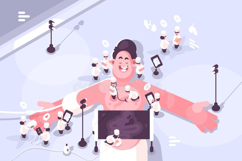 Doctors treating different diseases of patient. Vector illustration. Small-sized docs examining at huge man with special equipment and tools. Medicine human stock illustration