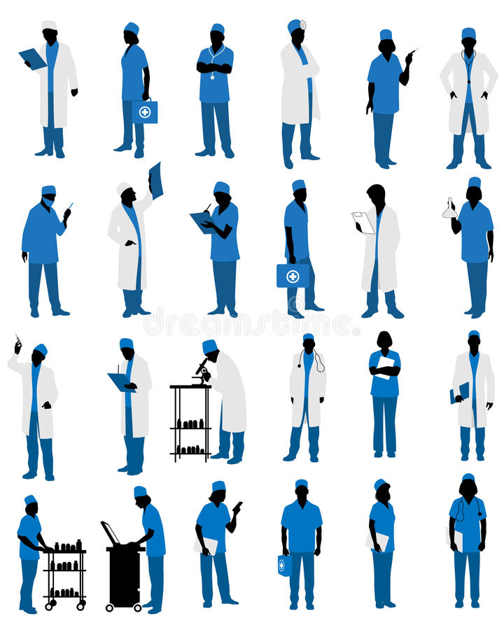 Doctors in uniform silhouettes royalty free illustration