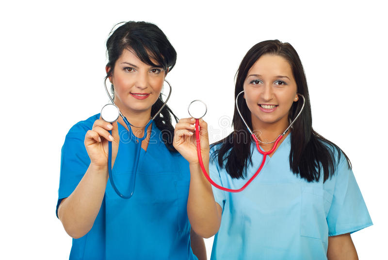 Doctors Women Showing Stethoscopes Royalty Free Stock Photography