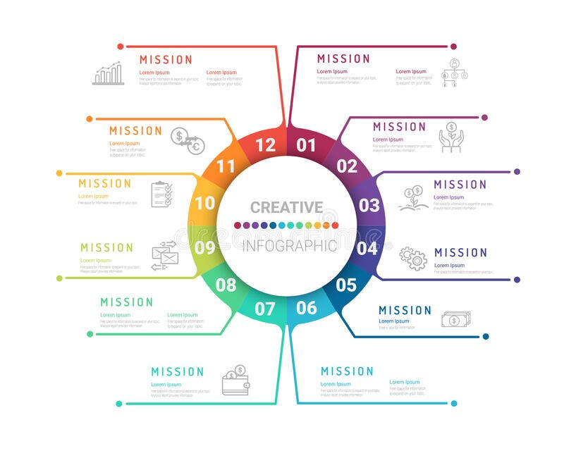 Infographic template for 12 months royalty free stock photos