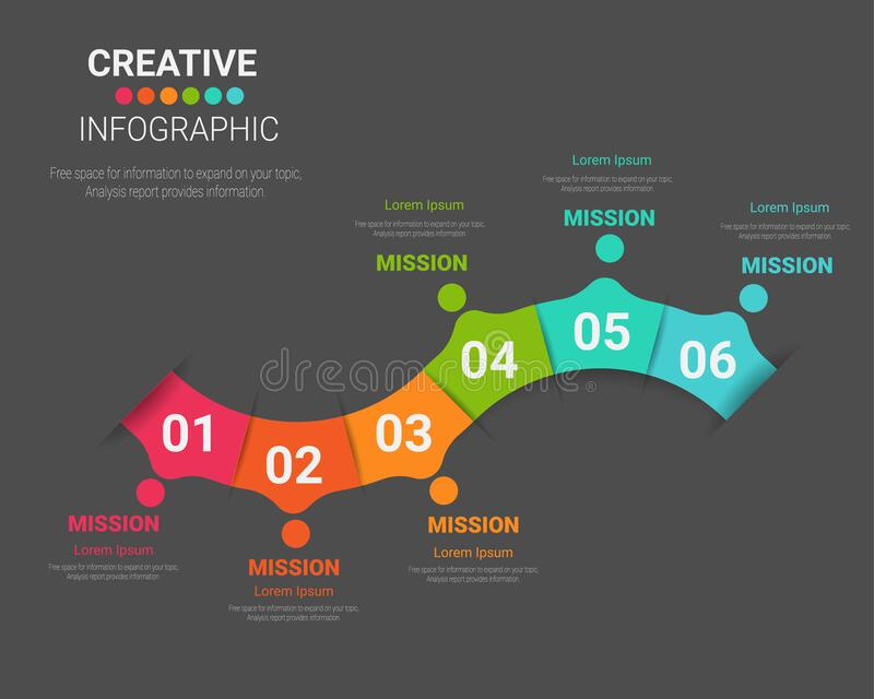 Infographic design with 6 option stock photography