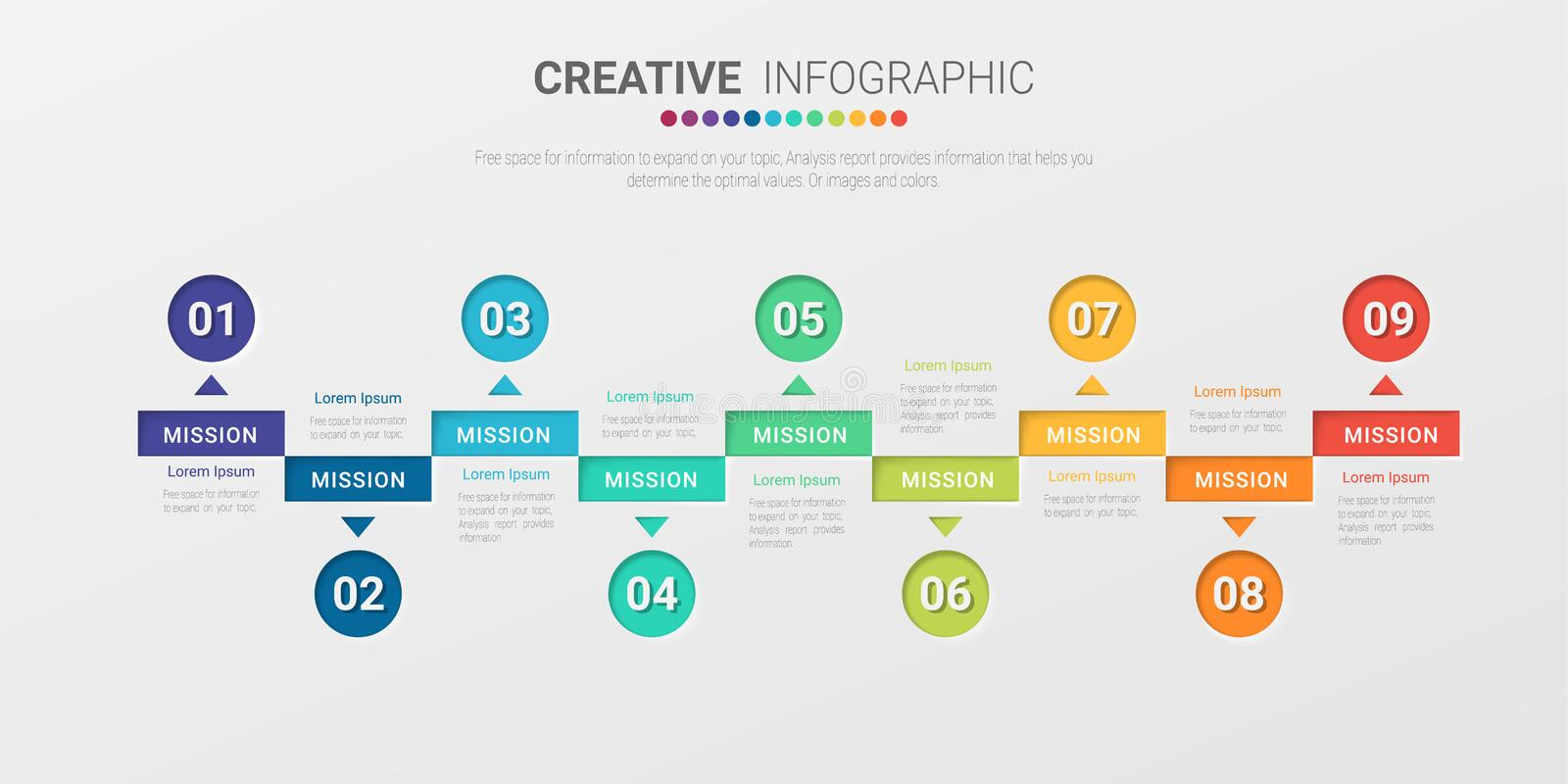Infographic design template with 9 options, Infographics for business concept stock photography