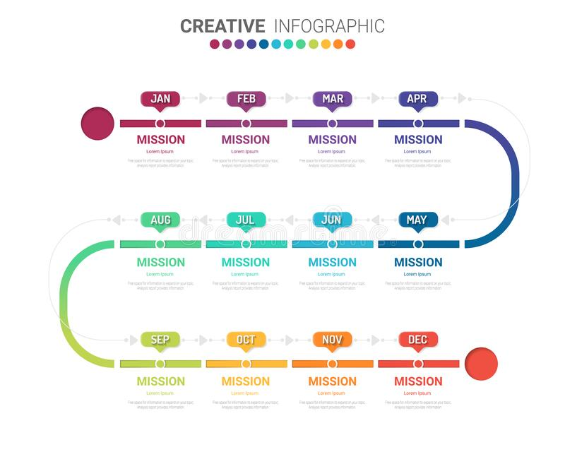 Timeline infographics design vector for 12 months, 1 year. stock photography
