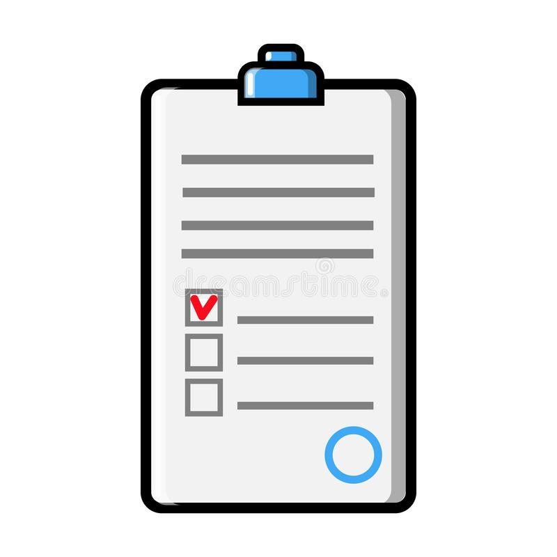 Document with abstract text signed and stamped, a medical form with a questionnaire and a medical history with a clip, icon vector illustration