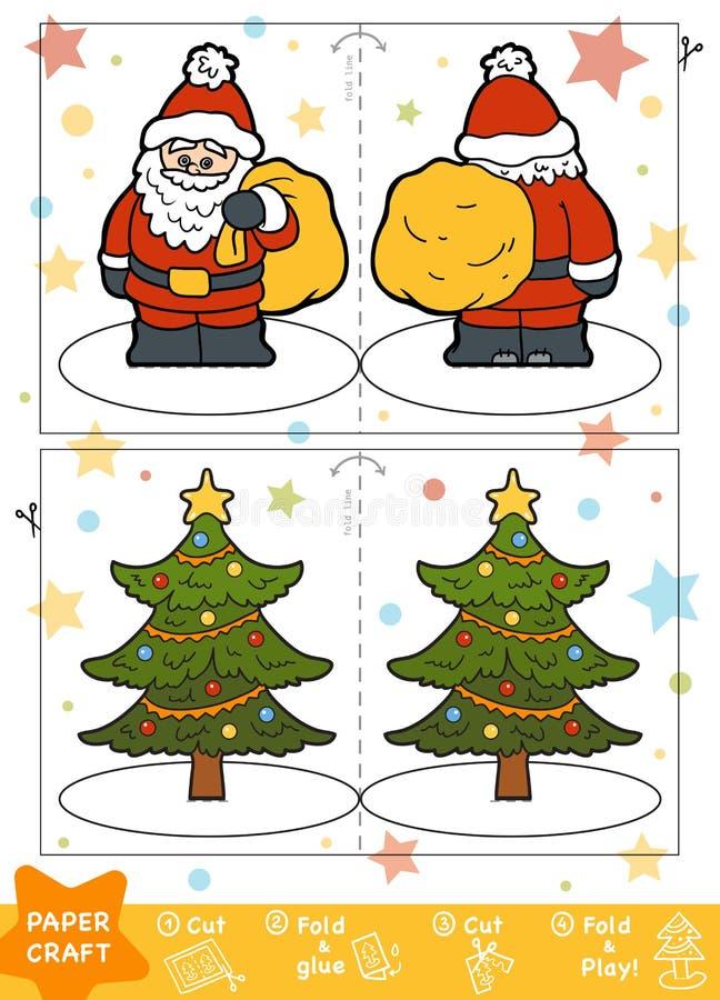 Document Ambachten voor kinderen, Santa Claus en Kerstboom stock illustratie