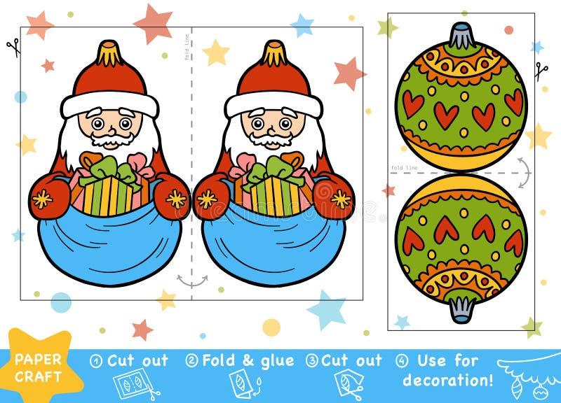 Document Ambachten voor kinderen, Santa Claus en Kerstmisbal royalty-vrije illustratie