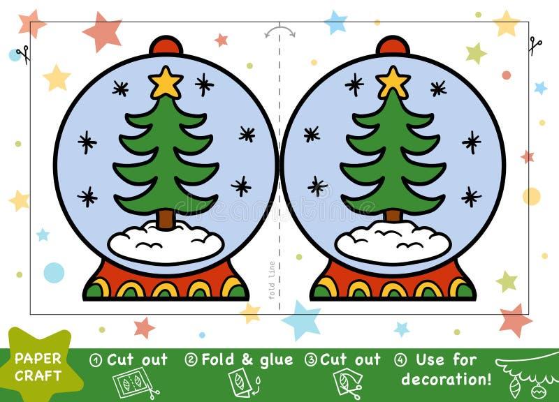 Document Ambachten voor kinderen, Sneeuwbal en Kerstboom royalty-vrije illustratie