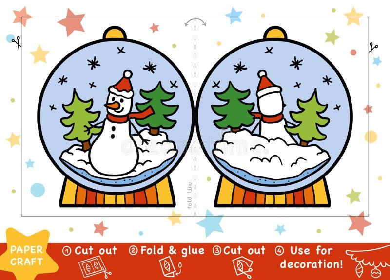 Document Ambachten voor kinderen, Sneeuwbal met een sneeuwman stock illustratie