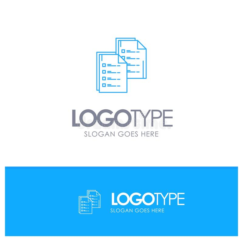 Document, Analytics, Data, Copy, Paper, Resume Blue outLine Logo with place for tagline stock illustration