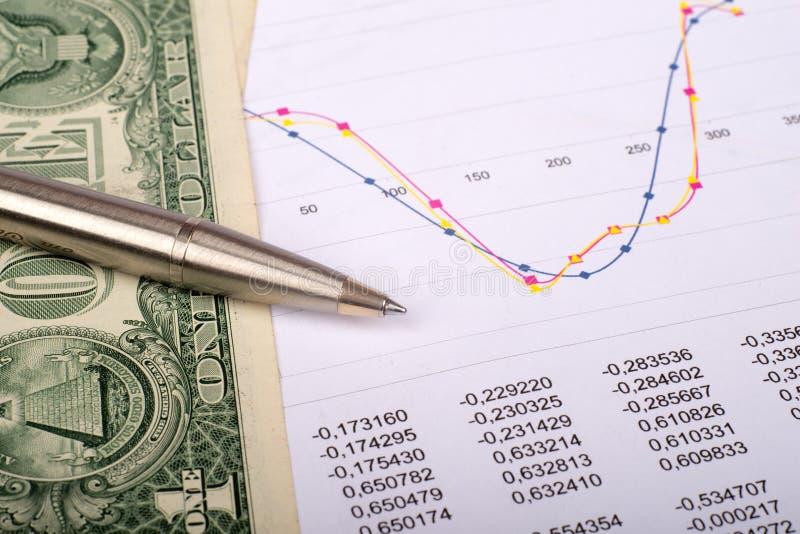 Document avec des graphiques et des dollars image stock