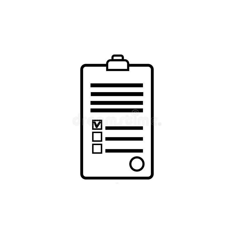 Document avec le texte abstrait signé et embouti, une forme médicale avec un questionnaire et des antécédents médicaux avec une a illustration stock