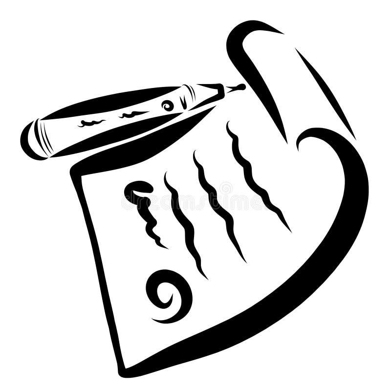 Document avec le timbre et le stylo, contour noir illustration stock