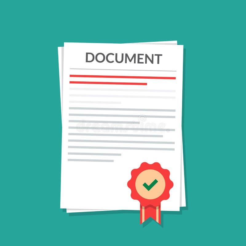 Document avec un joint Natorially a certifié le mandat illustration de vecteur