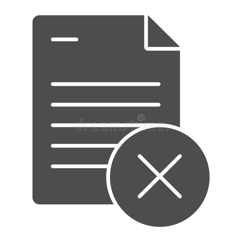 Document ban solid icon. Paper failure vector illustration isolated on white. List with cross glyph style design. Designed for web and app. Eps 10 royalty free illustration