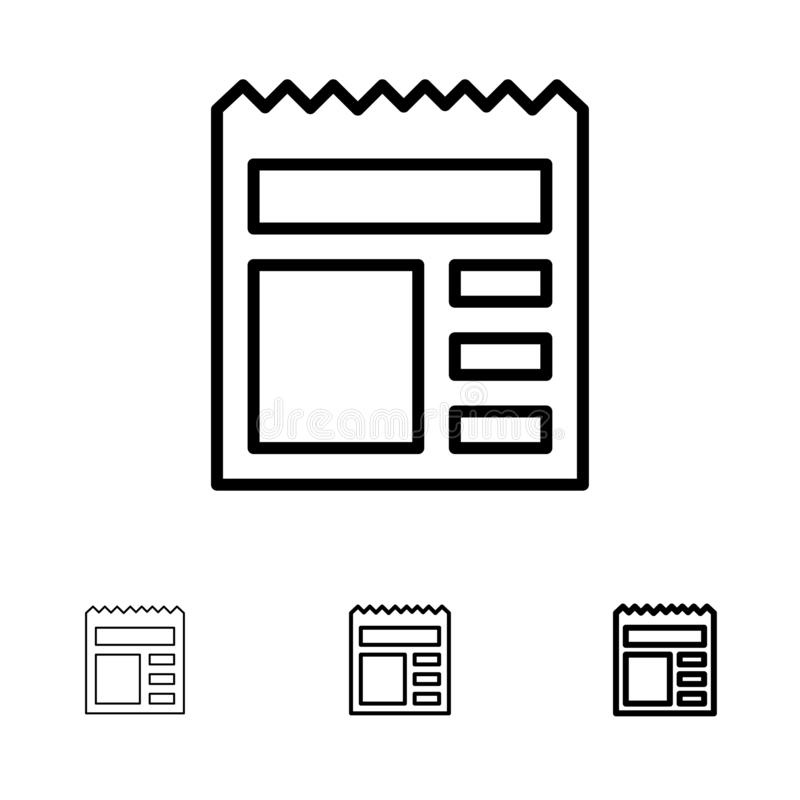 Document, Basic, Ui, Bank Bold and thin black line icon set stock illustration