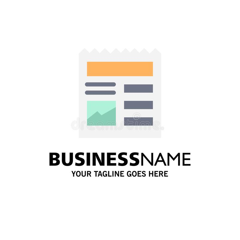 Document, Basic, Ui, Picture Business Logo Template. Flat Color stock illustration