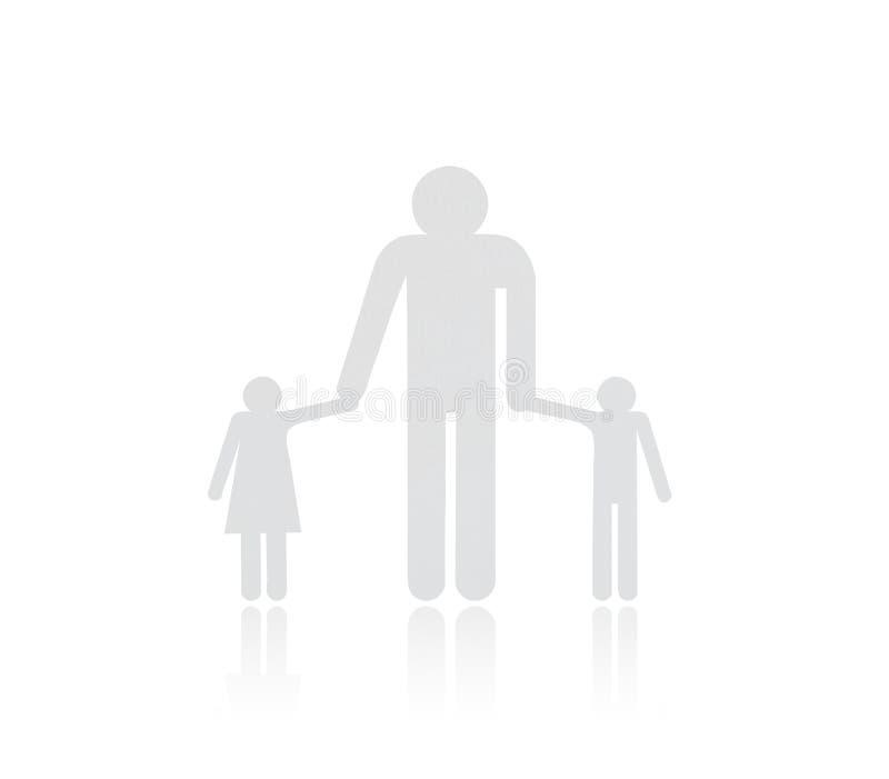 Document besnoeiing van familie op witte achtergrond wordt geïsoleerd die stock foto's