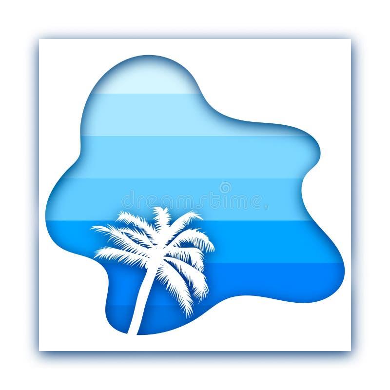 Document besnoeiingsontwerp met palm tegen overzees en hemel stock illustratie