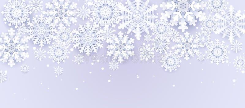 Document besnoeiingssneeuwval De vrolijke kaart van Kerstmisgroeten Gelukkig Nieuwjaar De sneeuwachtergrond van de winter Ruimte  royalty-vrije illustratie