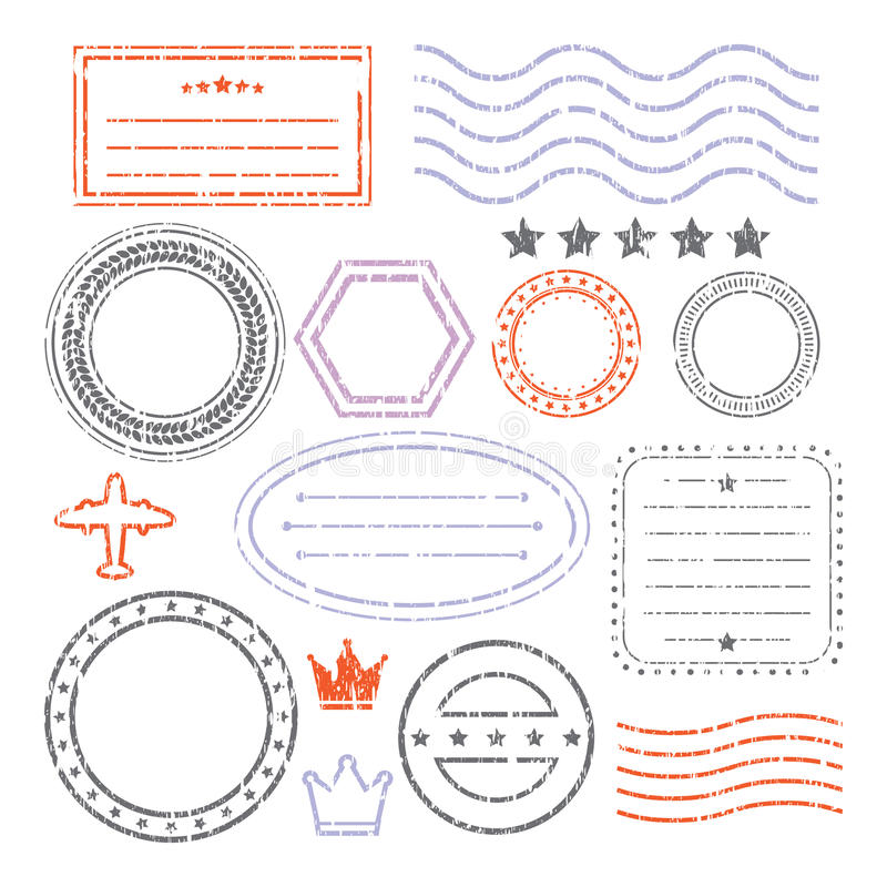 Document And Blank Grunge Stamps Set royalty free illustration