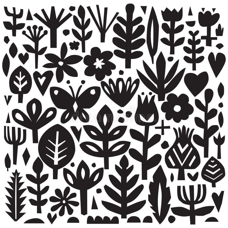 Document bloemenelementen Knipsel bloemen Vectorinstallatiesilhouetten Skandinavische stijl Botanische inzameling royalty-vrije illustratie