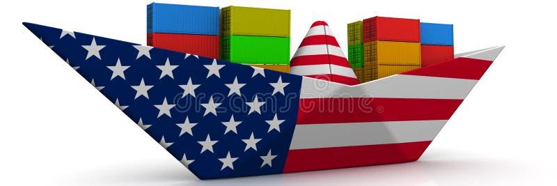 Document boot van de vlag van de V.S. met verschepende containers royalty-vrije illustratie