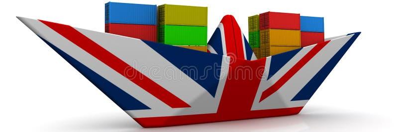 Document boot van de vlag van Groot-Brittannië met verschepende containers royalty-vrije illustratie