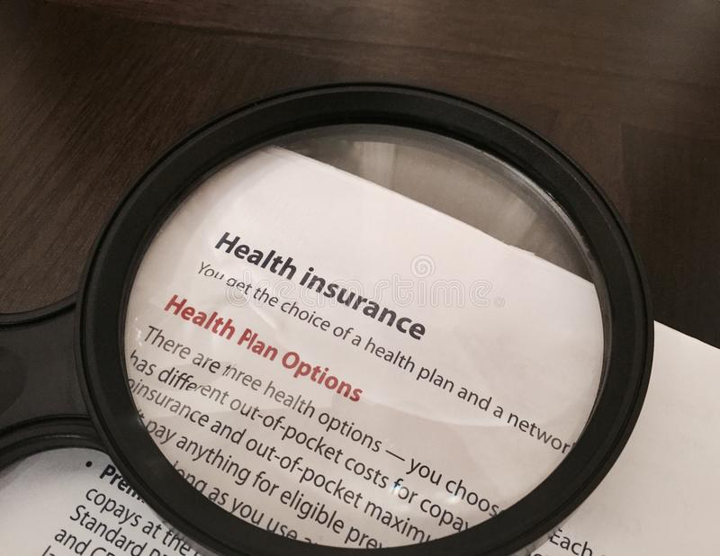 Health Insurance Plan Options stock image