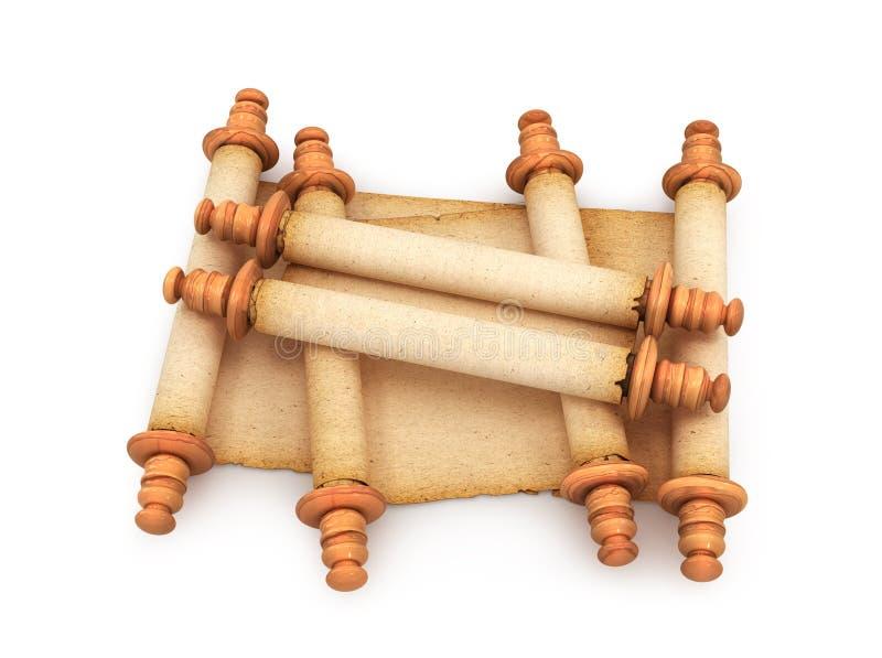 Document Broodjes van oude rollen op witte achtergrond 3d stock illustratie
