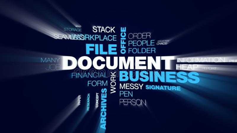 Document business file office finance bureaucracy organization paperwork letter archives contract animated word cloud. Background in uhd 4k 3840 2160 royalty free illustration