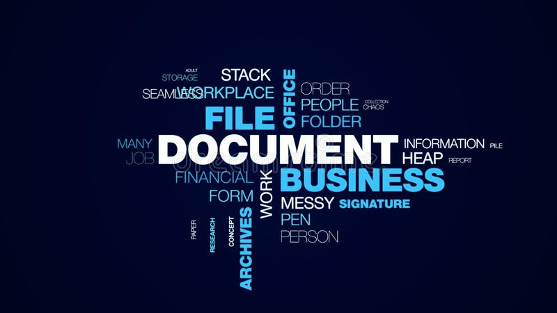 Document business file office finance bureaucracy organization paperwork letter archives contract animated word cloud. Background in uhd 4k 3840 2160 stock illustration
