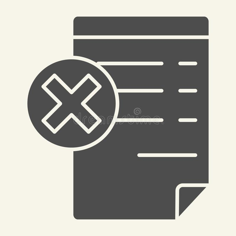Document with cancel sign solid icon. Paper with cross vector illustration isolated on white. Reject file glyph style. Design, designed for web and app. Eps 10 royalty free illustration