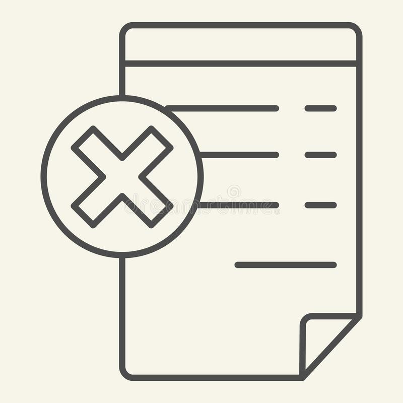 Document with cancel sign thin line icon. Paper with cross vector illustration isolated on white. Reject file outline. Style design, designed for web and app royalty free illustration