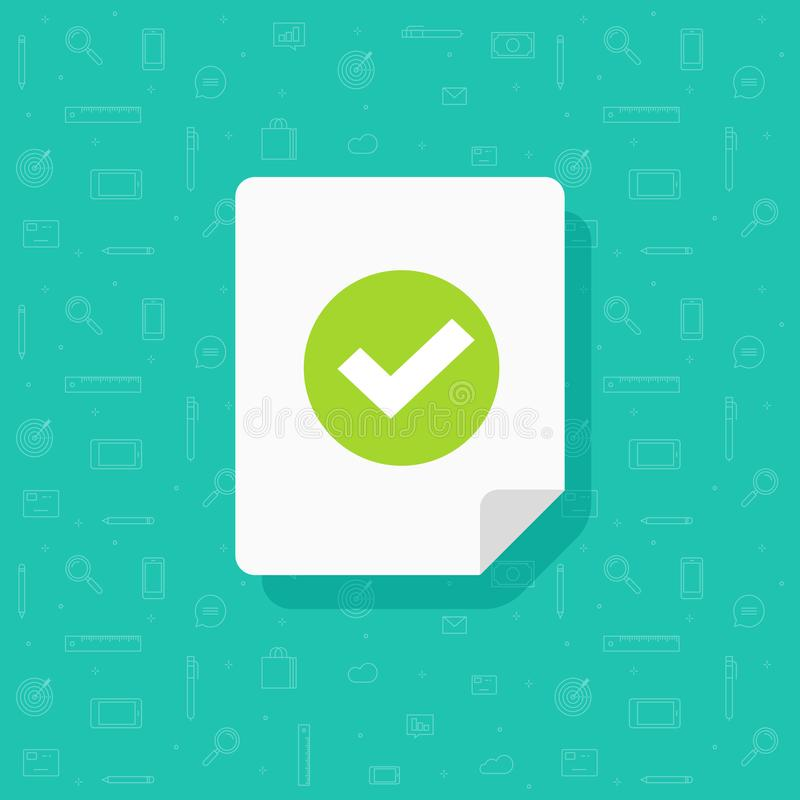Document and checkmark vector icon, flat cartoon paper doc page with approved tick sign, folded sheet with success or. Passed verification data, concept or vector illustration