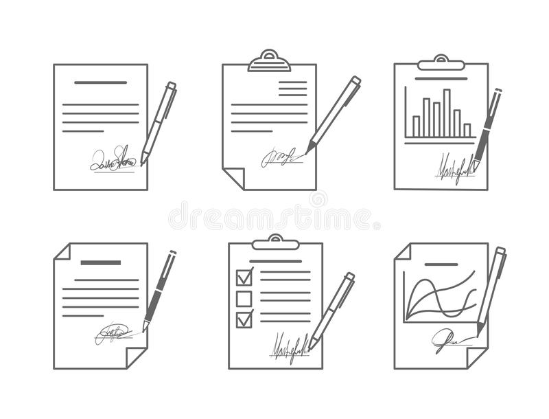 Document or contract with signature. Agreement and paper, vector illustration stock illustration