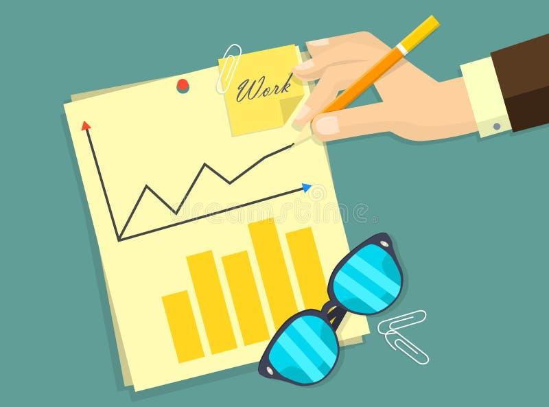 Document d'homme d'affaires s'enregistrant l'accord contractuel, angle supérieur de lieu de travail d'homme d'affaires au-dessus  illustration stock