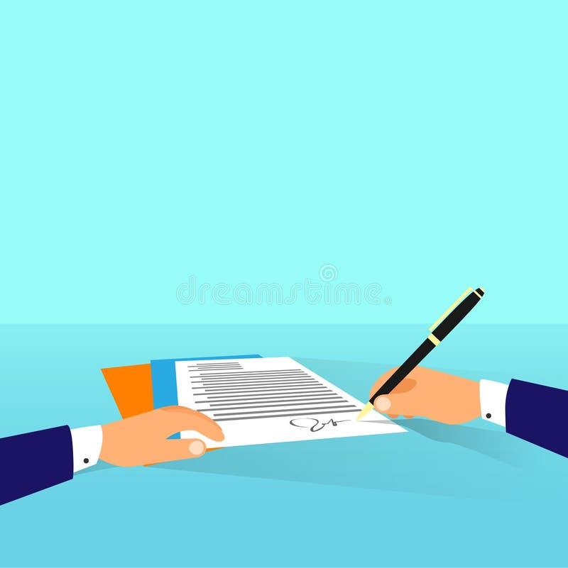 Document d'homme d'affaires s'enregistrant le contrat illustration stock